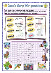 English Worksheets: Jane�s diary: Wh- questions
