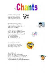 English Worksheets: Chants
