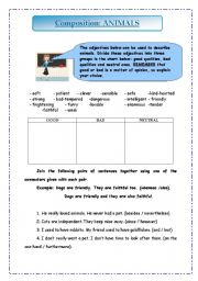 English Worksheet: WRITING A COMPOSITION ABOUT ANIMALS