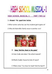 English Worksheet: High School Musical-1 part 2 and 3