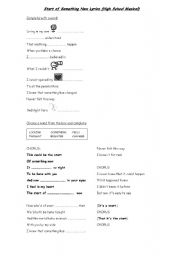 English Worksheets: The Start of Something New (High School Musical)