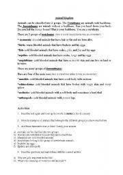 English Worksheets: VERTEBRATES AND INVERTEBRATES ANIMALS