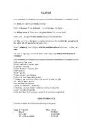 English Worksheets: Slangs