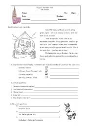 English Worksheets: Shrek and friends