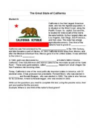 English Worksheets: Information Gap-The Great State of California