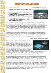 English Worksheet: Olympics 2008 in China