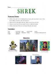 English Worksheet: Shrek 1 / Teaching Guide / Pre-Viewing warm-up