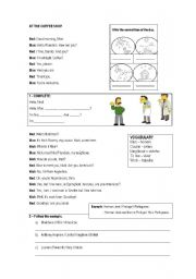 English Worksheet: At the coffee shop