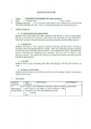 English worksheet: LESSON PLAN 1