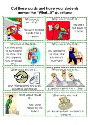 English Worksheets: Cards: What would you do if...? 3 of 4