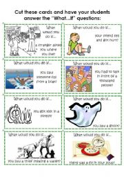 English Worksheets: Cards: What would you do if...? 4 of 4