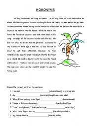 English Worksheet: Homonym Story