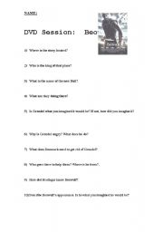 English Worksheets: Dvd Session: Beowulf - the movie