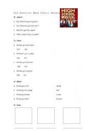 English Worksheets: Dvd Session: High School Musical 1