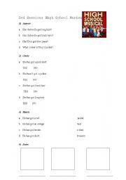 English Worksheet: Dvd Session: High School Musical 1