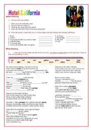 English Worksheet: Hotel California (four skills)