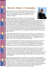 English Worksheet: Barack Obama´s Biography