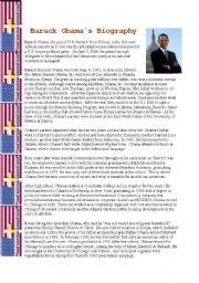 English Worksheet: Barack Obama´s Biography