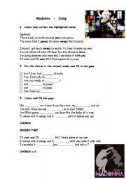 English Worksheet: Madonna- Jump