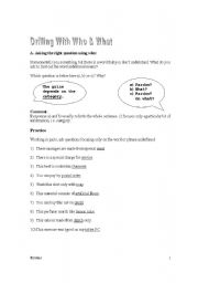 English Worksheets: Asking Questions with What & Who + Exercises + Key