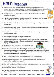 English Worksheet: Brain teasers Part 3