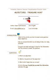 English Worksheets: Adjectives Treasure Hunt