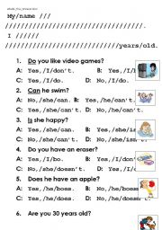 English Worksheets: what�s the answer