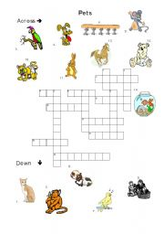 English Worksheets: pet crosswords