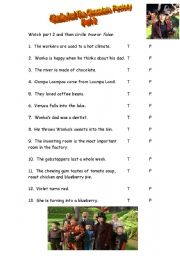 English Worksheet: CHARLIE AND THE CHOCOLATE FACTORY (Part 2)
