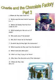 English Worksheet: CHARLIE AND THE CHOCOLATE FACTORY (Part 3)