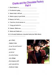 English Worksheet: CHARLIE AND THE CHOCOLATE FACTORY (Part 4)