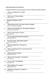English Worksheets: Reported Speech -Questions