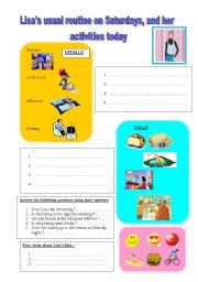 English Worksheets: Lisa�s daily routine and her activities today