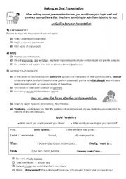 English Worksheets: Oral Presentations and Marking Criteria
