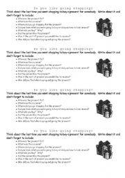 English worksheet: Do you like going shopping?