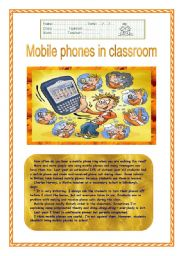 English Worksheet: Mobile phones in classroom?