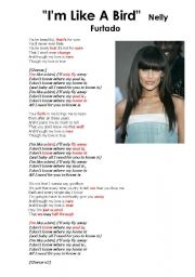 English Worksheet: Song: I�m Like a Bird by Nelly Furtado