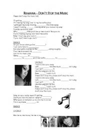 English Worksheets: Rihanna - Don�t stop the music