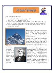 English Worksheets: Mount Everest - Reading Comprehension