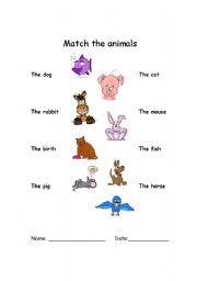 English Worksheets: Math the animals