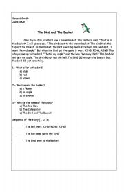 English Worksheets: The bird in the basket
