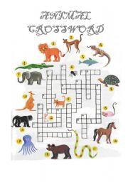 English Worksheet: Animal Crossword