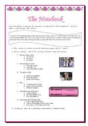 English Worksheets: Movie Activity - The notebook
