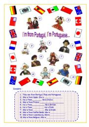 English Worksheet: I�m from Portugal. I�m Portuguese.(1/1)