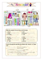 English Worksheets: what�s there in my closet?