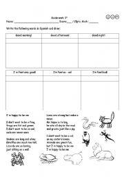 English Worksheets: greeting and song