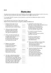 English Worksheets: rhyme pattern