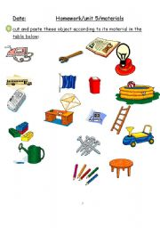 English Worksheets: materias