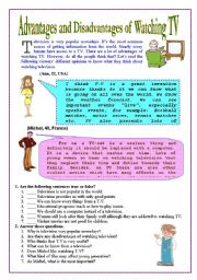 English Worksheet: Advantages and Disadvantages of Watching TV