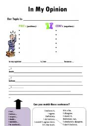 English Worksheet: In My Opinion - Expressing Opinions